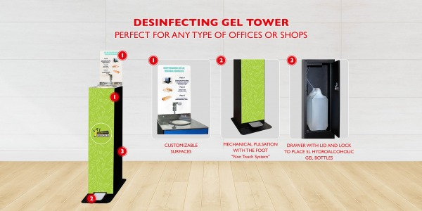 SANITIZER GEL TOWER CUSTOMIZABLE
